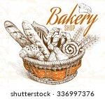 vintage style bakery basket.... | Shutterstock .eps vector #336997376
