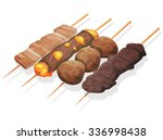 asian yakitoris skewers set ... | Shutterstock .eps vector #336998438