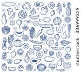 vegetables and fruits set hand... | Shutterstock . vector #336999329
