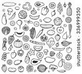 vegetables and fruits set hand... | Shutterstock . vector #336999350
