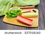 Rhubarb Stalks With Green...