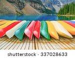 Kayaks On Moraine Lake In Banf...