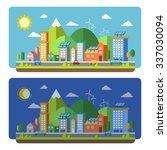 ecology city scenery concept in ... | Shutterstock .eps vector #337030094
