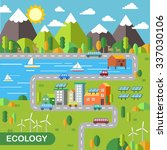ecology city scenery concept in ... | Shutterstock .eps vector #337030106