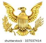 gold american eagle design with ... | Shutterstock .eps vector #337037414