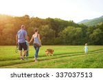 beautiful young family with... | Shutterstock . vector #337037513
