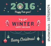 christmas and new year cute... | Shutterstock .eps vector #337039274