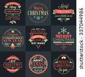 set of merry christmas and... | Shutterstock .eps vector #337044986