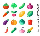 isolated vegetables set  tomato ... | Shutterstock .eps vector #337045499