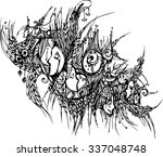 hand draw of imagination mask... | Shutterstock .eps vector #337048748