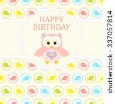 baby girl arrival card. baby... | Shutterstock .eps vector #337057814