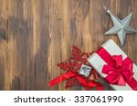 white gift red silk wrap with... | Shutterstock . vector #337061990