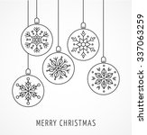 Snowlakes, geometric Christmas ornaments, background - stock vector