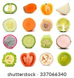 collection of fruit and... | Shutterstock . vector #337066340