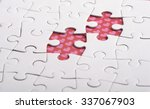 Small photo of Two colorful puzzle, as man and woman fit together like a puzzle.