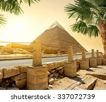 pyramid of khafre and asphalted ... | Shutterstock . vector #337072739