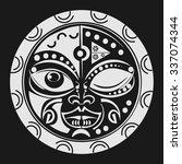sacred geometry   tiki mask... | Shutterstock .eps vector #337074344