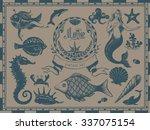 marine vintage drawings  vessel ... | Shutterstock .eps vector #337075154