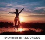 silhouette of a ballet dancer... | Shutterstock . vector #337076303
