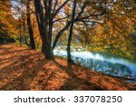 Stock photo colorful leaves on trees along lake in autumn hdr image 337078250