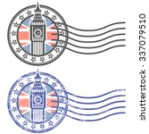 grunge stamp with big ben and... | Shutterstock .eps vector #337079510