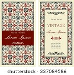 set of antique greeting cards ... | Shutterstock .eps vector #337084586