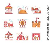 Theme amusement park sings set. Thin line art icons. Flat style illustrations isolated on white. | Shutterstock vector #337087334