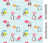 penguin christmas background ... | Shutterstock .eps vector #337088408