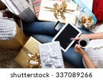 woman shopping online with a... | Shutterstock . vector #337089266