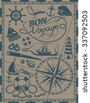 nautical vintage drawings  sea... | Shutterstock .eps vector #337092503