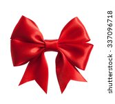 single gift bow  red satin ... | Shutterstock . vector #337096718