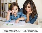 mother helping her little child ... | Shutterstock . vector #337103486