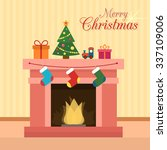 christmas fireplace with socks  ... | Shutterstock .eps vector #337109006