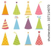 set of colorful party hats | Shutterstock .eps vector #337114070