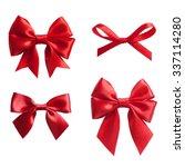 set of four red ribbon satin... | Shutterstock . vector #337114280