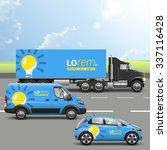 blue transport advertising... | Shutterstock .eps vector #337116428