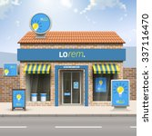 blue store design with yellow... | Shutterstock .eps vector #337116470