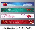 set of christmas banner vector...