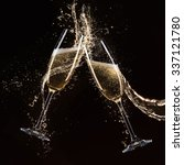 glasses of champagne with... | Shutterstock . vector #337121780