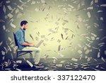 young man using a laptop...   Shutterstock . vector #337122470