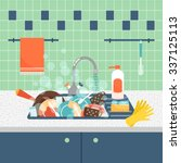 kitchen sink with dirty... | Shutterstock .eps vector #337125113