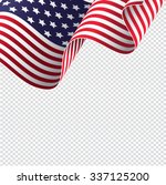 american flag on transparent...