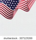 American Flag On Transparent...