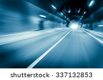 blue color tunnel car driving... | Shutterstock . vector #337132853
