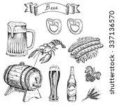 crayfish for beer. hand drawn... | Shutterstock . vector #337136570