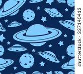 ufo pattern. flying saucer ... | Shutterstock .eps vector #337140413