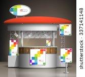 white exhibition stand design... | Shutterstock .eps vector #337141148