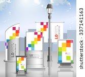 white outdoor advertising... | Shutterstock .eps vector #337141163