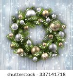 wooden card with christmas... | Shutterstock .eps vector #337141718