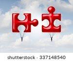 business teamwork puzzle... | Shutterstock . vector #337148540